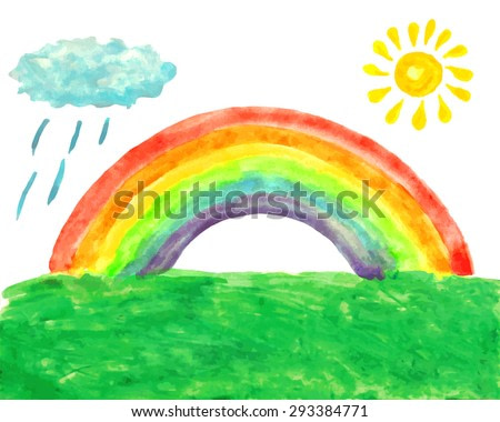 Watercolor picture with rainbow, sun, rainy cloud and grass. Summer landscape. Child's drawing. Vector illustration. Image trace.