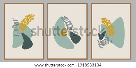 Set three of organic pattern and bontanical flowers wall art with neutral pastel color. Scandinavian style vector Ilustration with Minimalist concept of wall decor. Can use for poster.