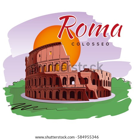 Coliseum. Colosseum in Rome. Vector illustration. Imitation of watercolor painting.
