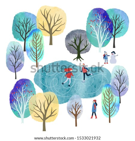 Winter landscape with people vector watercolor illustration. Outdoor games and activities. Christmas card design.