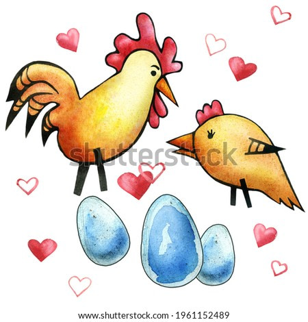 A series of drawings about the family. Funny baby beloved. Husband and wife. Chicken and rooster, eggs are good future parents. Parents and children. Feathers. Watercolor painting.