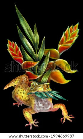 Banana Yellow Gecko Seed Exotic Flowers Plants Funny Animal Illustration Postcards with reptiles. Colored lizards. Watercolor drawing