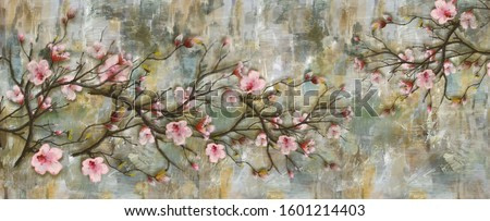 Abstract art colorful flowers  painting. Spring multicolored illustration