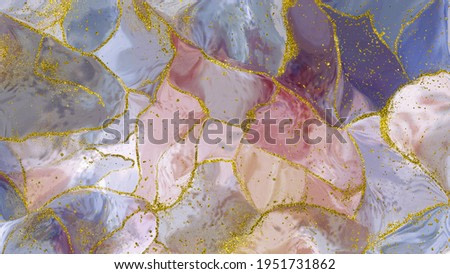 fancy abstract fluid art painting illustration with alcohol ink technique, red, purple and blue paint mix. Imitation of cut marble stone, accompanied by golden dots
