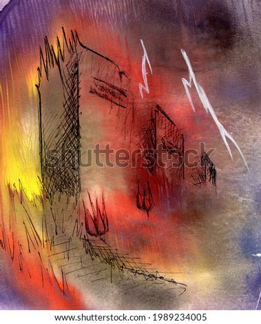Old cemetery, tombstones. Hand drawn watercolor painting and black pen illustration. Bad rainy weather, thunderstorm with lightning. Mystical background. Abstract painting. Interior poster design.