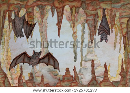 Watercolor illustration with cave and bats.