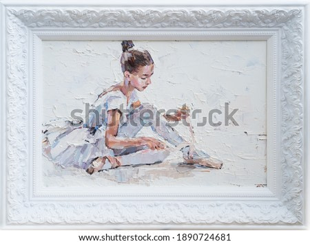 A young ballerina in light tutus prepares for performances. The background is white. Framed oil painting on canvas.