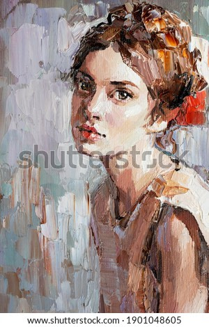 Young woman with beautiful mysterious brown eyes. Textured art. Fragment of oil painting.