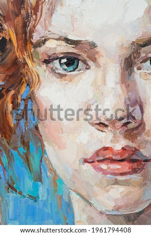 Fragment of art painting. Portrait of a girl with red hair is made in a classic style. A woman's face with blue eyes.
