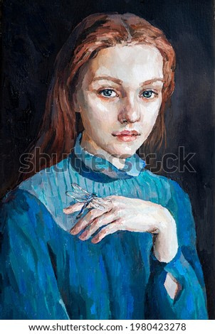 Art painting. Portrait of a girl with red hair is made in a classic style. Background is dark.