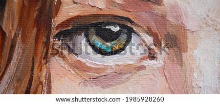 Female blue eye close up. Fragment of art painting. The art is done in a realistic manner.