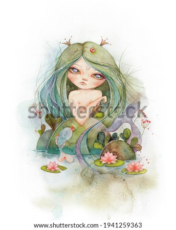 Watercolor illustration with a mermaid. Fairy tale fantasy art for baby, kid's room. Poster, Wall art.