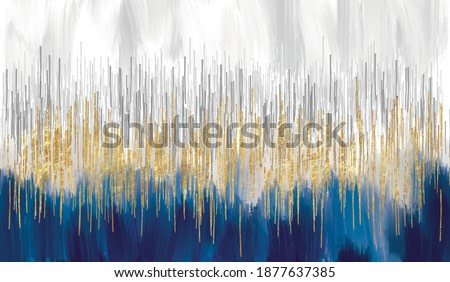 Abstract art gold and blue oil painting