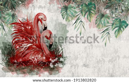 tropical flamingos photo wallpaper in the room