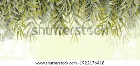 green textured leaves for your wall