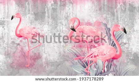 flamingos on a texture photo for your room. Photo wallpapers that fit a light interior