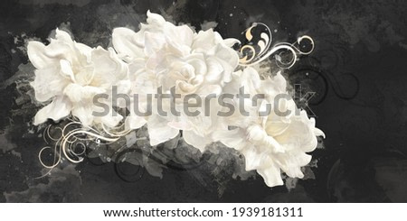 white watercolor roses on black texture background