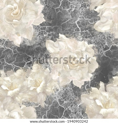 watercolor roses on black textured background folded in pattern