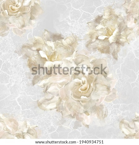 white watercolor roses on a textured background folded in a pattern for any print