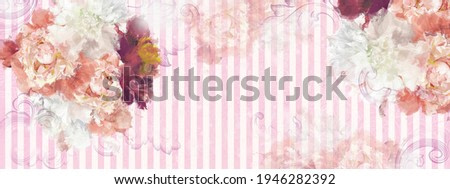peonies on a light pink background, texture wallpaper in a watercolor style