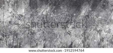 black and white textured background with white contour peonies