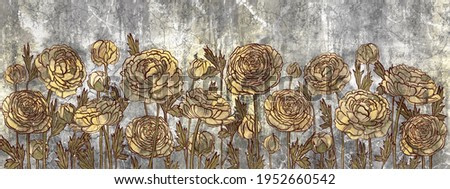 contour flowers in the form of peonies on a textured gray background