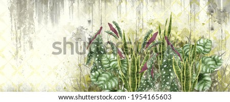 Light yellow background with shabby texture, tropical leaves in the foreground