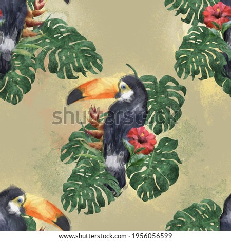 Toucan pattern on tropissected leaves in watercolor style