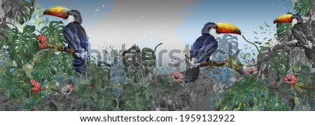 toucans on branches in tropical leaves in a watercolor style and textural drawing