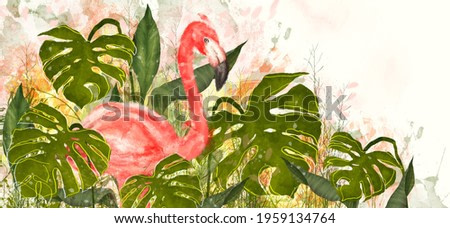 watercolor flamingo on a light background in the leaves