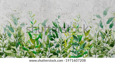 leaves on a textured wall in the form of a background in a watercolor slightly lazy stele into the room, photo wallpaper