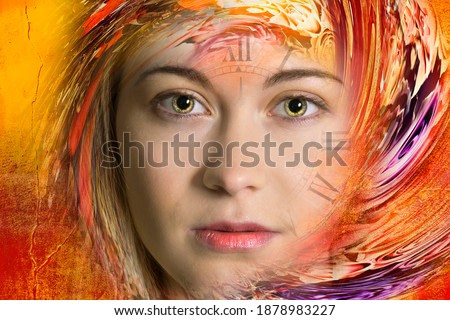 Art portrait woman and time