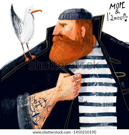portrait of cartoon sailor with seagull and tattoo
