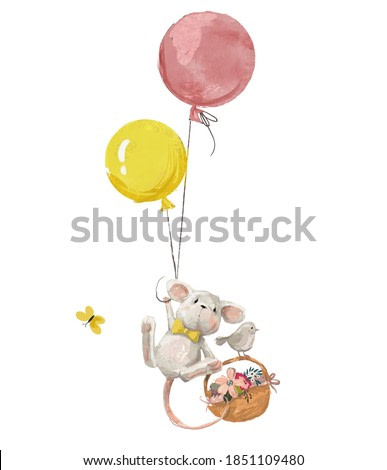 cute birthday mouse woth balloons