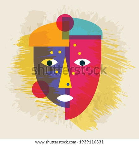 Face portrait abstraction wall art illustration design vector. Creative shapes design graphics with textured geometric shapes. Abstract geometric surreal faces. Girl female or woman silhouette cubism.