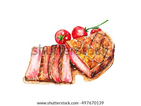 Steak with Tomato, watercolor painting isolated on white background