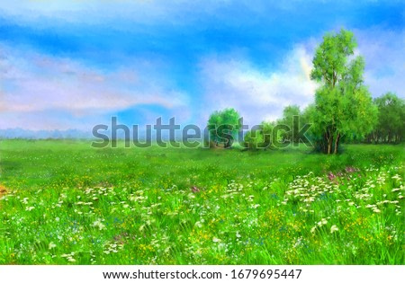 Digital oil paintings landscape, meadow with flowers and blue sky. Fine art.