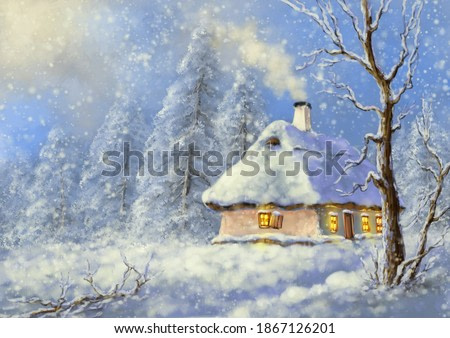 Paintings winter landscape, fine art, house in the snow