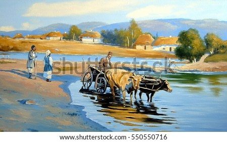 Oil painting on canvas - Ukraine house and river