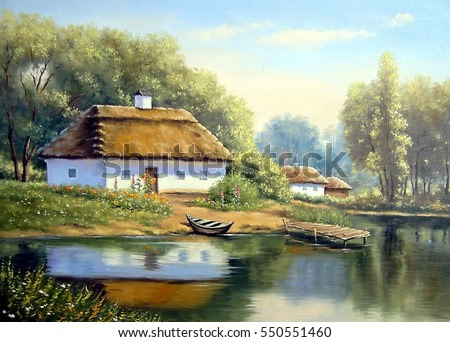 Landscape,oil painting on canvas - Ukraine house in the forest, boat and river