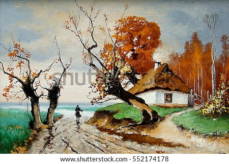 Oil painting on canvas - Ukraine house,village,road