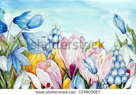 Watercolor flowers , illustration background