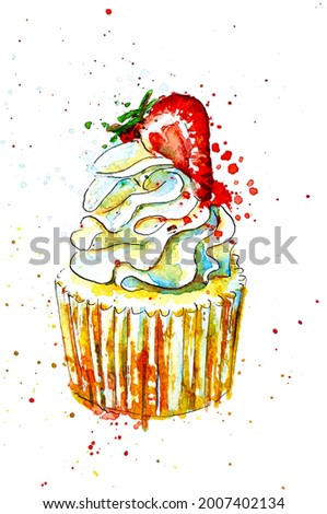 Cupcake with strawberry loose watercolour painting illustration