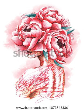 Pretty young girl with peonies in hair. Hand drawn watercolor fashion illustration in pink color. Fantasy, Beauty, fashion.