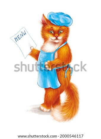 Cute cook cat in a blue beret and apron with the menu. A red-haired fluffy animal character on a white background. Good for print, postcards. Children's illustration. Picture for children's book.