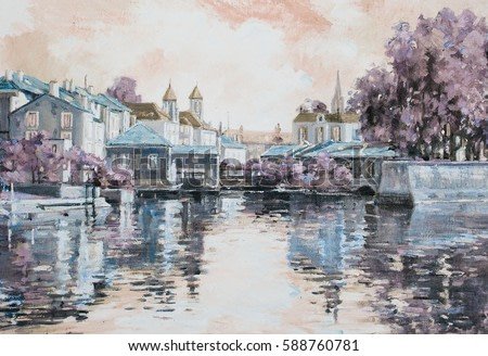 Original painting of European city on the water. Impressionism oil painting urban landscape in cold grey blue colors.