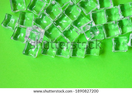 artificial ice transparent acrylic pieces not really cold, optical illusion ready to eat on the table outdoor top view copy space for text food background