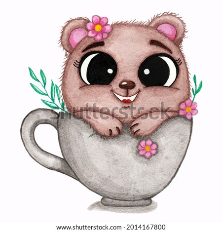 watercolor illustration of a cute bear in a cup with flowers on a white background
