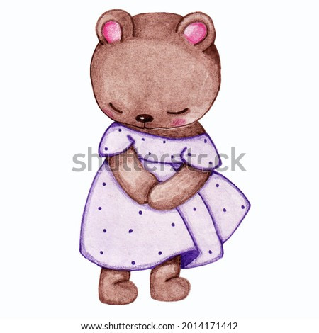 watercolor illustration of a cute shy bear in a purple dress on a white background