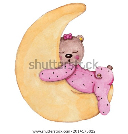 watercolor illustration of a cute sleeping bear on the moon on a white background